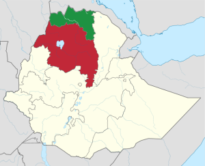 Tigray Region - Green Amhara Region - Red