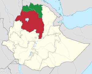 Tigray Region - Green Amhara Region - Red